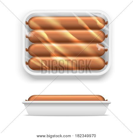 Sausage in White Supermarket Shop Package. Plastic Container for Fresh Food, Meat. Vector illustration