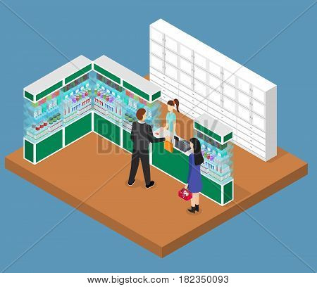 Pharmacy Shop Interior Isometric View Drugstore with Pill, Furniture and People Health Care Concept. Vector illustration