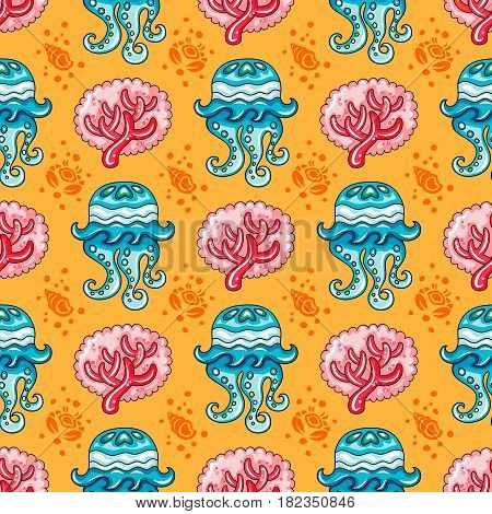 Vector nautical pattern. Seamless texture with hand drawn doodle sea objects: coral branch, decorative jellyfish, seashells, and  silhouette crab. Vector nautical background, Sea vacation collection