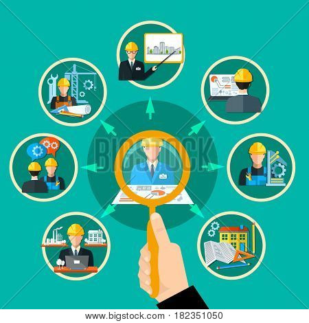 Engineering composition with hand magnifier and conceptual civil engineer images inscribed in circles connected by arrows vector illustration
