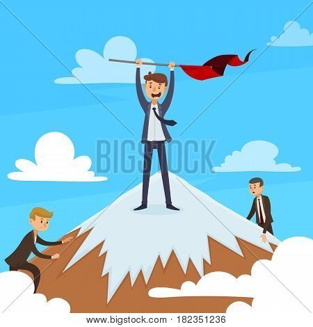 Successful career design concept with winner on mountain top and competitors on blue sky background vector illustration