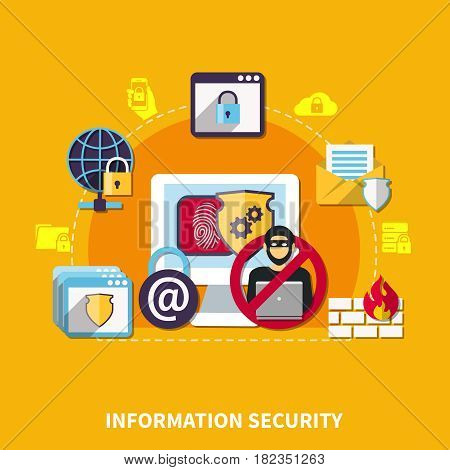 Information security concept with protection symbols on yellow background flat vector illustration