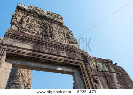 Siem Reap, Cambodia - Feb 3 2015: Angkor Thom. A Famous Historical Site(unesco World Heritage Site)
