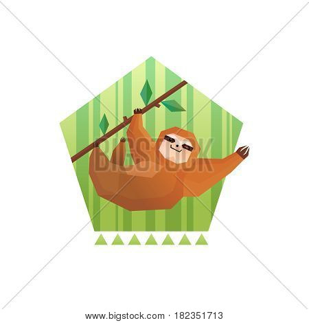 Sloth polygonal composition with flat tree sloth character hanging from a bough on minimalistic striped background vector illustation