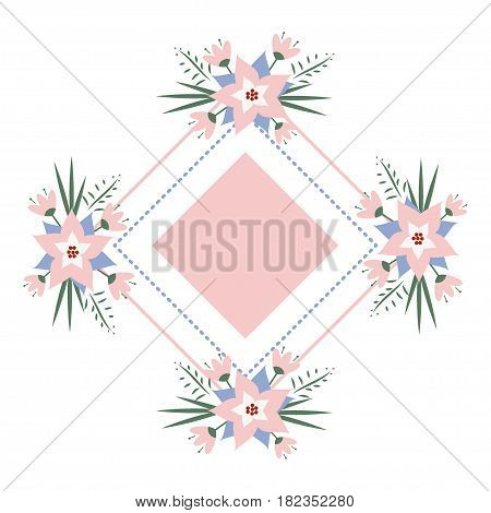 vector floral vignette in the form of a rhombus. Delicate floral frame for invitations, cards, stickers for wedding, birthday, holiday.
