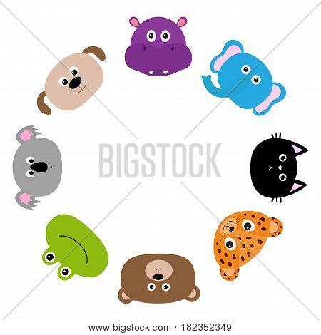 Cat jaguar dog hippopotamus elephant bear frog koala. Zoo animal head face. Cute cartoon character set Round circle frame. Baby children education. Flat design White background Isolated Vector