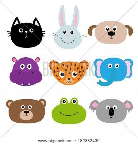 Zoo animal head face. Cute cartoon character set Baby children education. Cat rabbit hare jaguar dog hippopotamus elephant bear frog koala. Flat design. White background Isolated Vector