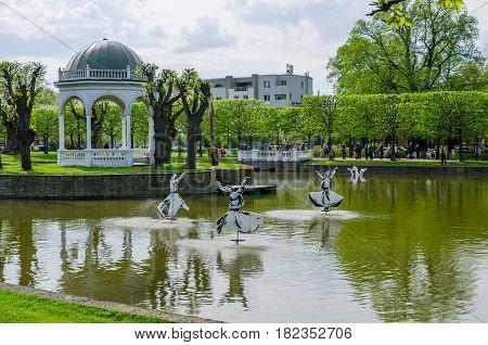 TALLINN ESTONIA - MAY 15: Pond in the Kadriorg Park on May 15 2016 in Tallinn Estonia.