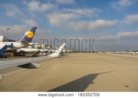 Munich, Germany - Ocober 27, 2016; Lufthansa planes lined at Munich airport