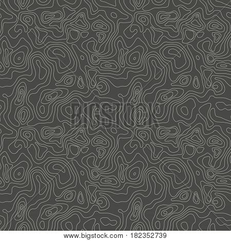 Vector abstract earth relief map seamless pattern. Generated conceptual elevation map. Isolines of landscape surface elevation. Geographic map conceptual design. Elegant background for presentations.