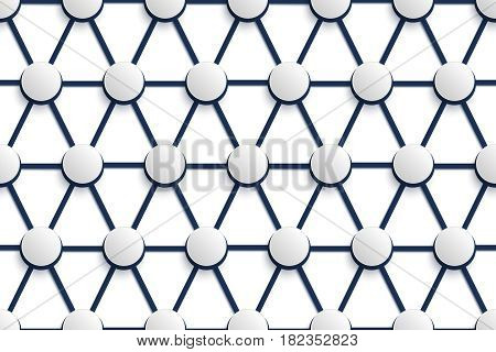 Vector seamless geometric pattern. Volumetric grid with hemispheres on intersections