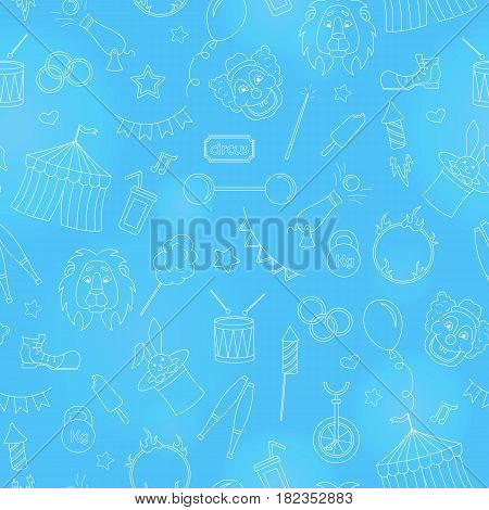 Seamless pattern on the theme of circus simple contour icons white contour on blue background
