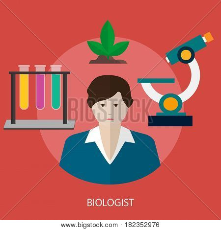 Biologist Conceptual Design | Great flat illustration concept icon and use for human, profession, athlete, work, event and much more.