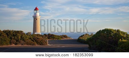 Panoramic shot of the Cape du Couedic Lighthouse. Sunset time. Kangaroo Island, Australia.