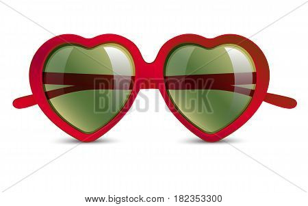 sunglasses in shape of heart with vivid multicolored abstract gradient on light background, love concept