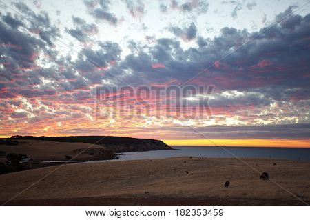 Scenic view of beautiful sunset on Kangaroo Island, South Australia.