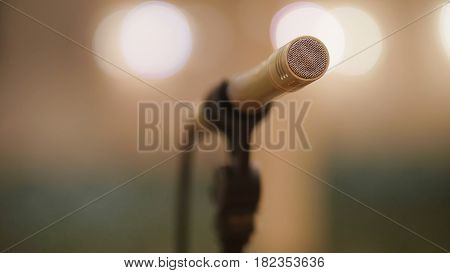 Microphone at theatre or opera scene - concert hall, close up