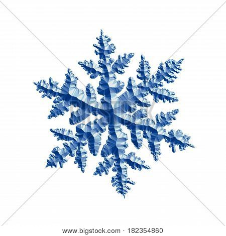 Blue relief snowflake isolated on white background. This computer-generated image based on shape of real snow crystal: large stellar dendrite with six complex, ornate arms and fine symmetry.