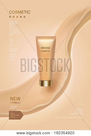 Cosmetic ads template, toner or lotion tube with fluid elements isolated on skin color background. 3D illustration.