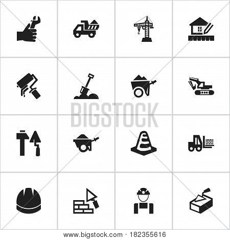 Set Of 16 Editable Building Icons. Includes Symbols Such As Employee , Handcart , Notice Object. Can Be Used For Web, Mobile, UI And Infographic Design.
