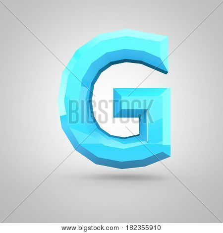 Blue Low Poly Alphabet Letter G Uppercase Isolated On White Background.
