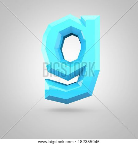 Blue Low Poly Alphabet Letter G Lowercase Isolated On White Background.