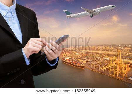 International Commercial Transportation Business And Logistics Industrial With Smart Technology Conc