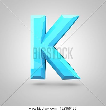 Blue Low Poly Alphabet Letter K Uppercase Isolated On White Background.