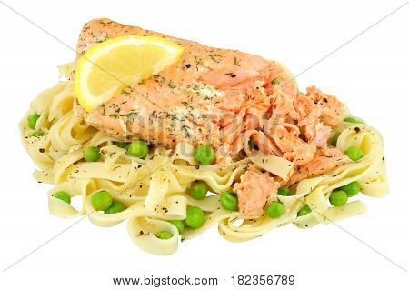 Pink salmon fillet and tagliatelle pasta meal isolated on a white background