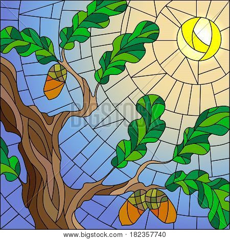 Illustration in stained glass style with green branches of oak tree on sky background and sun