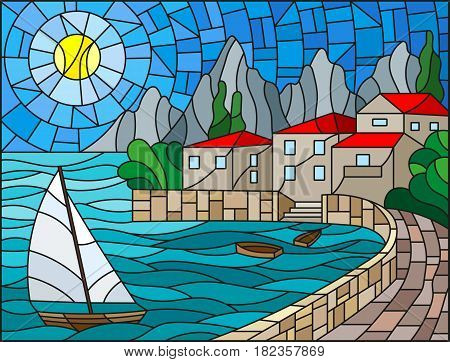The illustration in stained glass style painting with a sailboat on the background of the Bay with city sea and sun of the day sky