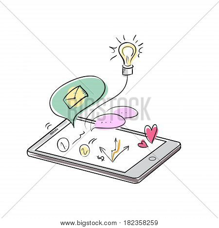 Doodle apps symbols in smartphone. Hand drawn social media and business applicaions in phone concept. Vector sketchy illustration