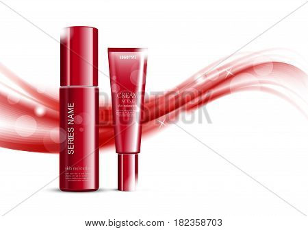 Bright cosmetic ads design template with red skin moisturizer and cream bottles on wavy soft dynamic lines background. Vector illustration