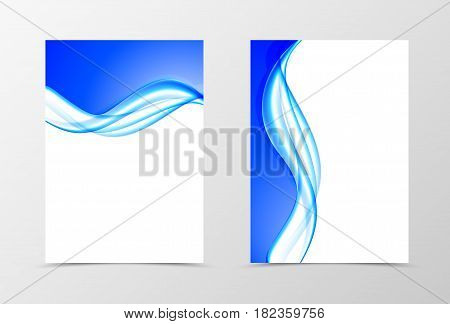 Front and back soft design flyer template with blue light wavy lines in dynamic elegant style. Vector illustration