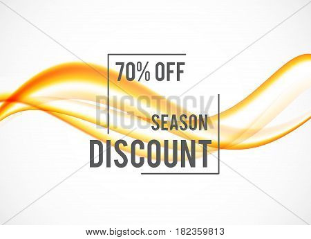 Abstract seasonal sale design background with orange soft wavy lines in dynamic elegant smooth style. Vector illustration
