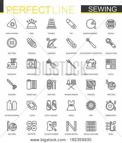 Sewing equipment thin line web icons set. Outline needlework icon design