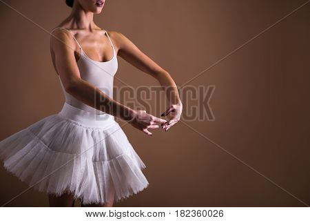 Close Up Of Young Beautiful Woman Ballet Dancer In Tutu