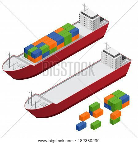 Barge Ship Set and Part Set Color Freight Containers Isometric View Concept Cargo Transportation. Vector illustration