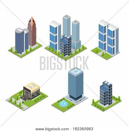 City Skyscraper and Cafe Building Set Isometric View Element Urban Architecture Modern Exterior Facade and Sidewalk. Vector illustration