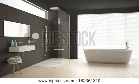 Minimalist bathroom with bathtub and shower parquet floor and marble tiles classic gray interior design, 3d illustration