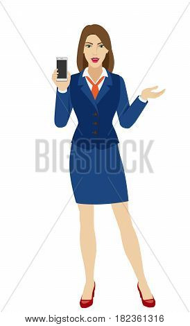 Businesswoman holding a mobile phone and gesturing. Full length portrait of businesswoman character in a flat style. Vector illustration.