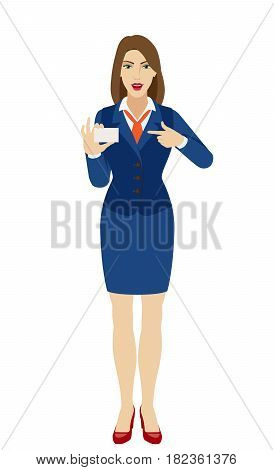 Businesswoman pointing on business card. Full length portrait of businesswoman character in a flat style. Vector illustration.