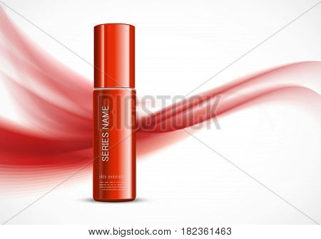 Body cream cosmetic ads template with red realistic bottle on wavy soft dynamic lines background. Vector illustration