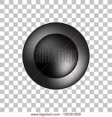 Black premium round bubble badge, button template with realistic shadow, reflex and transparent background for logo, design concepts, banners, posters, web, apps, prints. Vector illustration.