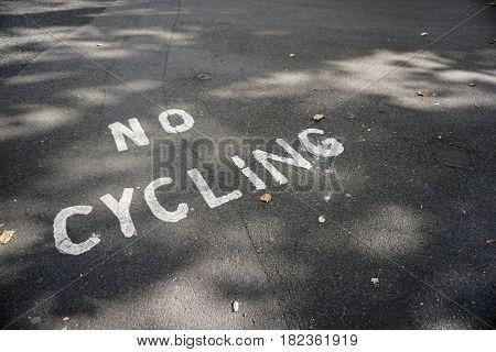 No Cycling Path Pedestrian Sign Urban Warning