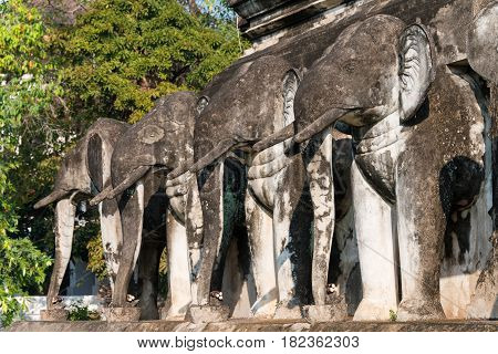 Chiang Mai, Thailand. - Feb 17 2015: Elephant Statues At Wat Chiang Man. A Famous Temple In Chiang M