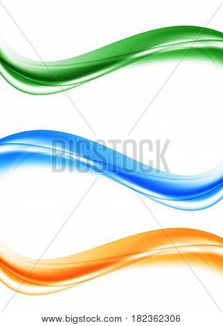Abstract soft curved bright waves set in blue orange green colors and smooth dynamic style. Vector illustration