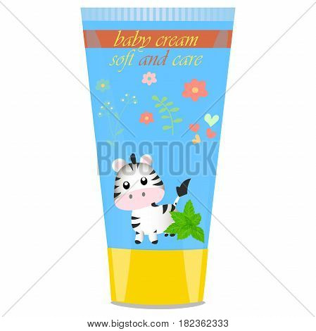 High quality original trendy vector Baby cream tube with kids design and zebra illustration