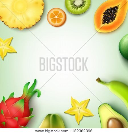Vector tropical fruits background with copyspace whole and half cut pineapple, kiwi, papaya, banana, carambola, kumquat, dragonfruit, avocado top view