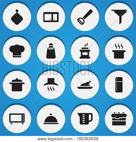 Set Of 16 Editable Cooking Icons. Includes Symbols Such As Salver, Pastry, Cook Cap And More. Can Be Used For Web, Mobile, UI And Infographic Design.